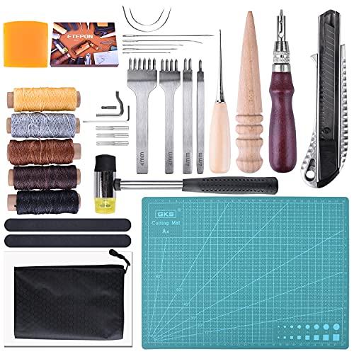 ETEPON Kits de Repujado de Cuero 34 Piezas para DIY Costura del Cuero NC61