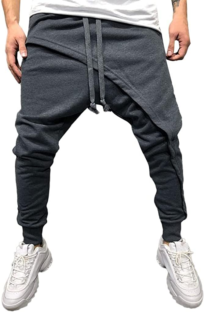 Beshion Men's Jogger Sweatpants Casual Elastic Waist Runing Pants Solid Patchwork Drawstring Athletic Trouser Pants