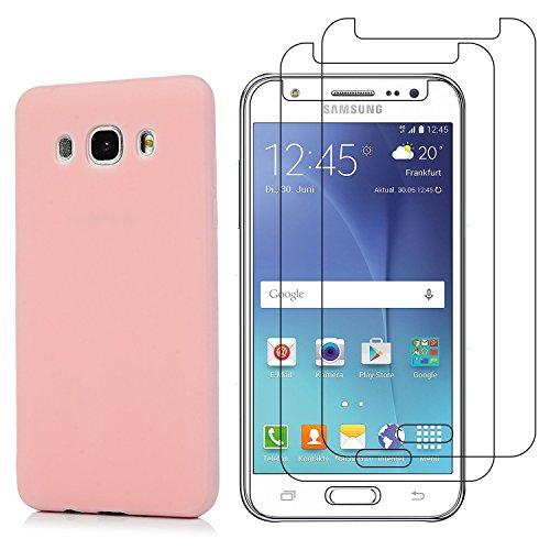 Funda para Samsung Galaxy J5 2016 + Cristal Templado Protector de Pantalla, Ultra Fina Silicona Transparente TPU Carcasa Protector Caso Cover, Rosado