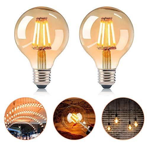 SANBLOGAN Edison Vintage Glühbirne e27, LED Vintage Glühbirne, Globe Vintage G80 Retro Dekorative Glühbirne 4W Ideal für Retro Beleuchtung im Haus Café Bar, Warmweiß Retro Dekorative Glühbirne 2 PCS