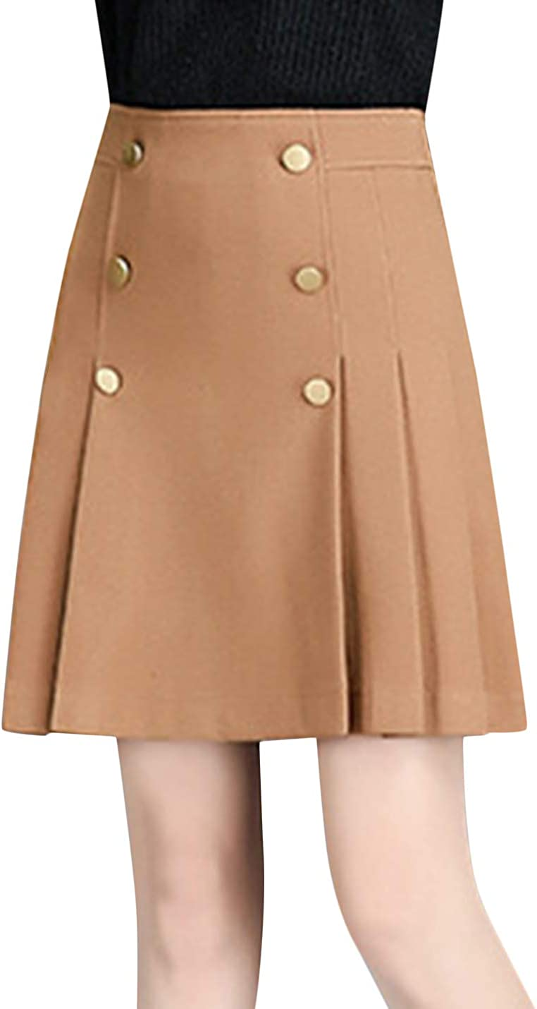Uaneo Women's Casual High Waist Back Zipper Pleated A Line Above Knee Short Skirt
