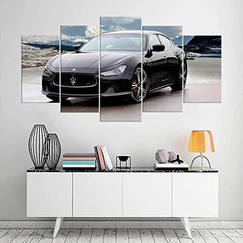 VKEXVDR Art Enlienzo Póster Superdeportivo Negro 5 Piezas Pared Mural para Decoracion Cuadros Modernos Salon Dormitorio Comedor Cuadro Impresión Piezasmaterial