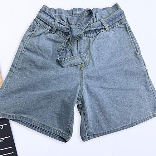 Shorts Frauen Krawatte Taille Denim Shorts Frauen Elastisch Hohe Taille Kurze Jeans Lässig Hot Blue Roll Up Short Mit Gürtel L Blau