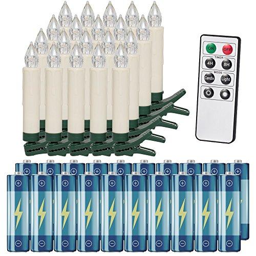 Deuba 20x LED Weihnachtsbaumkerzen kabellos weiß inkl. Batterien Fernbedienung Timer Flackern Dimmbar Christbaumkerzen