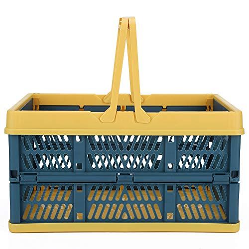 HERCHR Casse Pieghevoli per stoccaggio, cestini per la Spesa in plastica con Manici, 11,7 x 7,8 x 6,4 Pollici(Blue)
