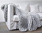 Wyxy Chunky Giant Knit Throw Hecho a Mano Bulky Knitting Yarn Manta Decoración Dormitorio súper Grande Cama para Mascotas Silla Sofá Estera de Yoga Alfombra Crema 200 * 200