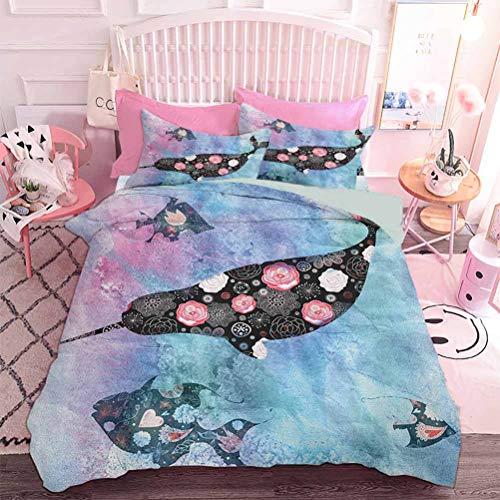 Hiiiman Home Textiles - Juego de cama con funda de edredón, diseño de nombre con elementos retro, ideal para la habitaciones de adolescentes, color rosa y blanco
