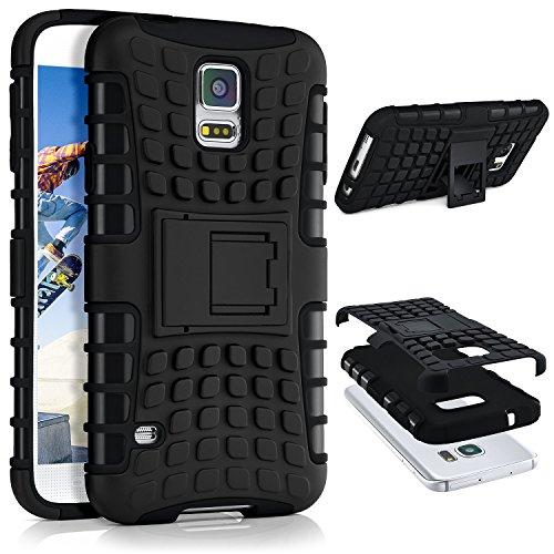 ONEFLOW® Tank Case kompatibel mit Samsung Galaxy S5 Outdoor Hülle | Panzer Handyhülle mit Ständer - 360 Grad Handy Schutz aus Silikon & Kunststoff, Schwarz