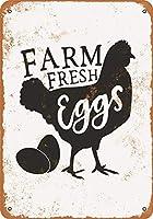 農場の新鮮な卵、ブリキのサインヴィンテージ面白い生き物鉄の絵画金属板ノベルティ