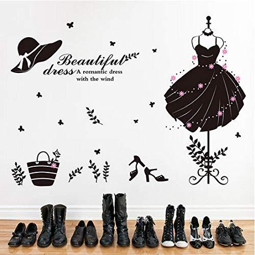 Jkxiansheng Vestido Formal Para Niña De Color Negro Etiqueta De La Pared Decoración De Pared De Vinilo Para Guardarropa Sala De Estar Ropa Tienda Decoración