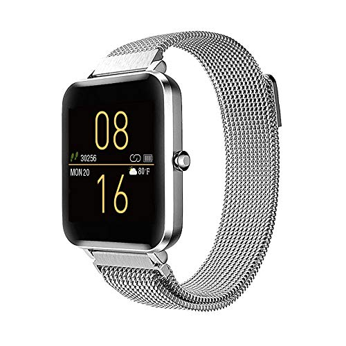 Tinwoo Smart Watch 2020 Ver. for Women Men, GPS Smartwatch, All-Day Activity Fitness Tracker Bluetooth, for iOS, Android Phone, with Heart Rate Monitor IP68 Waterproof (Metal Band Silver)