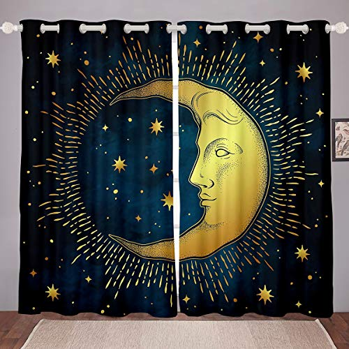 Feelyou Sun and Moon Window Curtains for Bedroom Living Room Boho Exotic Curtains Bohemian Style Windows Drapes Galaxy Star Room Decoration,42 X 84 Inch,2 Panels