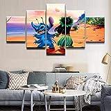 5 piezas cuadro en lienzo Cuadro compuesto por 5 lienzos impresos en HD, utilizados para decoración del hogar y carteles Película abstracta de Lilo & Stitch en la playa (150x80cm sin marco)