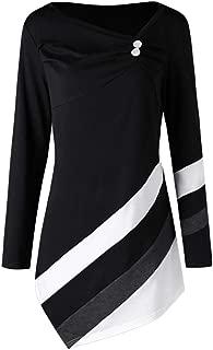 UONQD Women Autumn Winter Striped Asymmtrical Plus Size Blouse T-Shirts