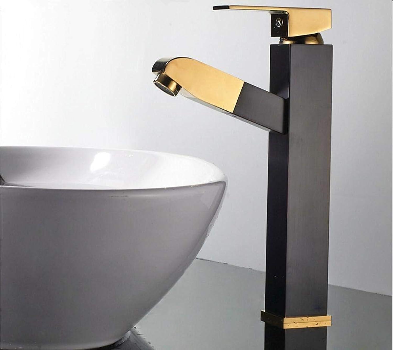 WENYAO High-End-Waschbecken Wasserhahn voll Kupfer schwarz Plus Gold Quartet Pull Waschbecken Wasserhahn