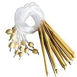 Agujas Ganchillo de Bambú (16 Par) - Tamaños 2-12mm Afghan Tunisian Crochet Hooks Kit para Hacer Muchos Patrones y Proyectos Incluyendo Encaje, Flores, Blondas y Ropa de Bebé