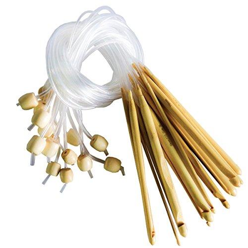 Curtzy Bambus Häkelnadel Set (16 teiliges) - Ideales Kit zum Häkeln Vieler Muster & Projekte einschließlich Spitzen, Blumen, Deckchen & Baby Kleider - Größen 2-12mm Mit Kunststoff-Kabelenden