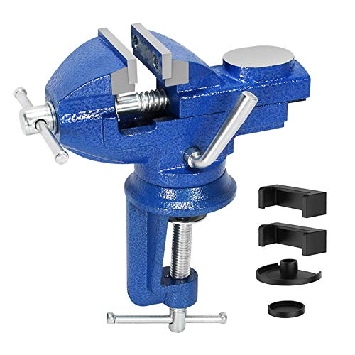 Universal 3 Inch Table Vise, 360° Rotating Swivel Base Bench Vise Heavy Duty Woodworking Clamps Home Vise Clamp-On Vise Movable Work Bench Vise For Woodworking, Blue