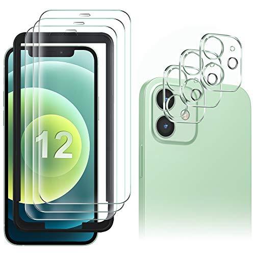 GESMA 3 Piezas Protector de Pantalla Compatible con iPhone 12, 3 Piezas Protector de Lente de Cámara, Cristal Templado de HD Anti-arañazos, Marco de Posicionamiento