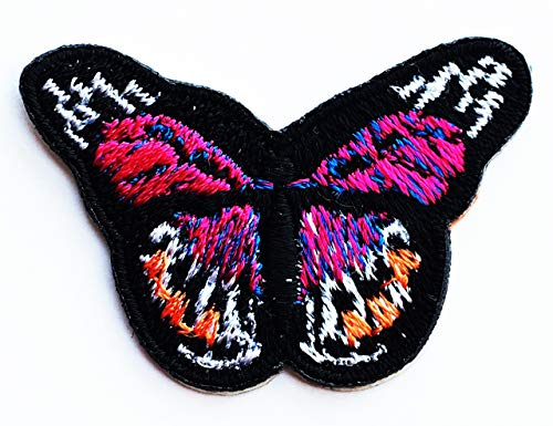 Pink Monarch Butterfly Cute Insect Kids Cartoon Iron on Emoji Embroidered Patch Supplies for Jacket Bags Jeans Backpack Clothes DIY