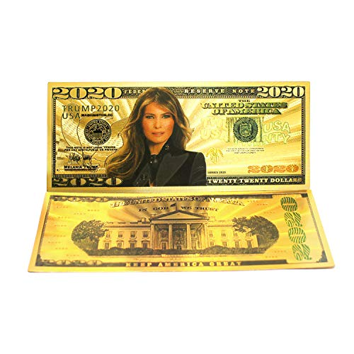 2020 Dollar Bill Melania Trump Banknote, Gold Coated First Lady Melania Limited Edition Million Dollar Bill Great Gift For Currency Collectors And Republican (Gold, 10)