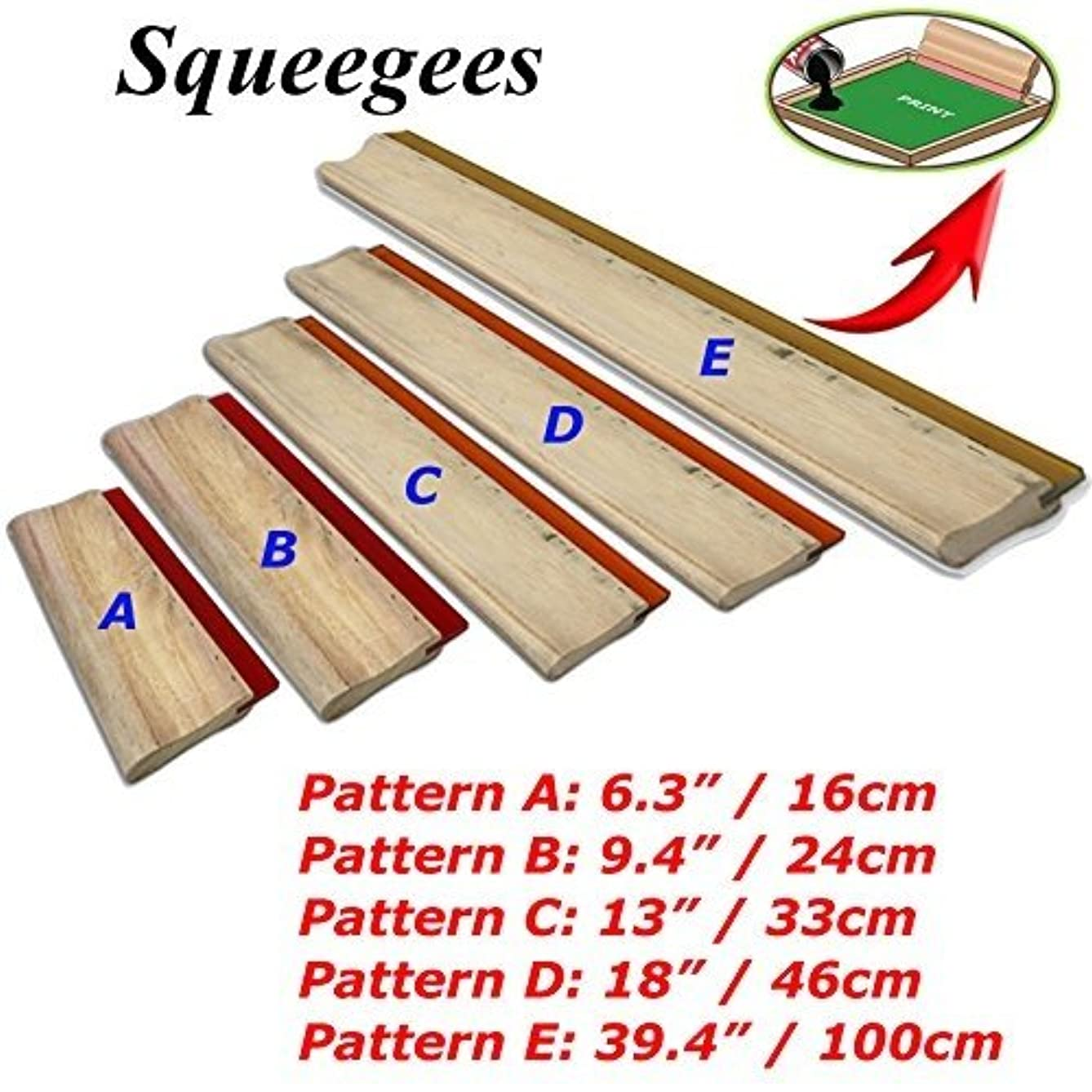 Silk Stencil Screen Printing Squeegee Wood Screen Ink Scraper (18 inch (46cm) Water Squeegee - 65 durometer)