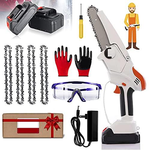 Mini Kettensäge,6 Zoll Handkettensäge,Akku Kettensäge mit Akku und Ladegerät(36vAkku*2, Sägekette*4),Kettensäge Elektro für Gartenscheren Astschere Holzschneiden,36V