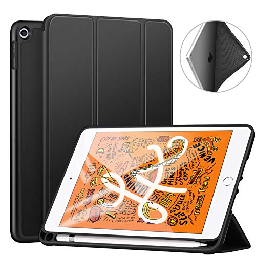 Ztotop Case for iPad Mini 5 2019 with Pencil Holder, Lightweight Soft TPU Back and Trifold Stand Smart Cover with Auto Sleep/Wake,Protective for iPad Mini 5th Generation 7.9' 2019 Release,Black