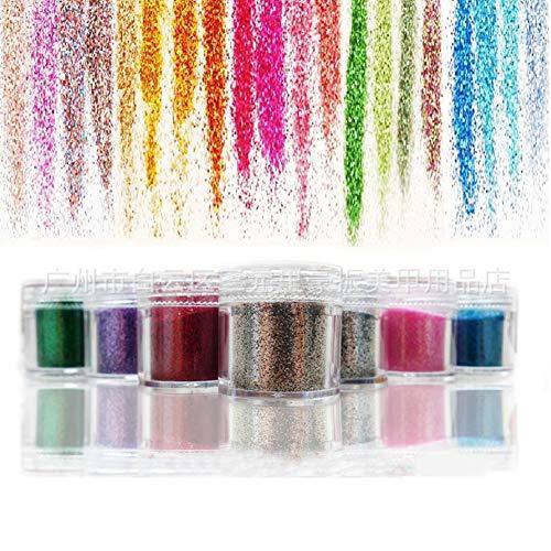 ETbotu Glitter Pulver,Kosmetik 12-Farben-Schimmer-Tätowierungs-Pulver-Nagel-Anstrich-Kunst-Pulver-Laser-Pulver