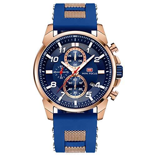 QZPM Reloj Analógico De Cuarzo para Hombre Correa En Silicona Manos Luminosas Multifunción Calendario Impermeable Casual Negocio Relojes,Rose Blue