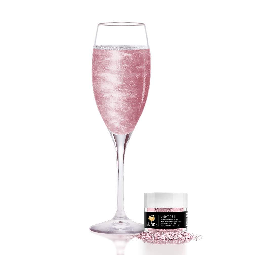 Light Pink BREW GLITTER Edible Glitter For Wine, Cocktails, Champagne, Drinks & Beverages | 4 Grams | KOSHER Certified | 100% Edible & Food Grade | Kosher Certified | Vegan, Gluten, Nut Free