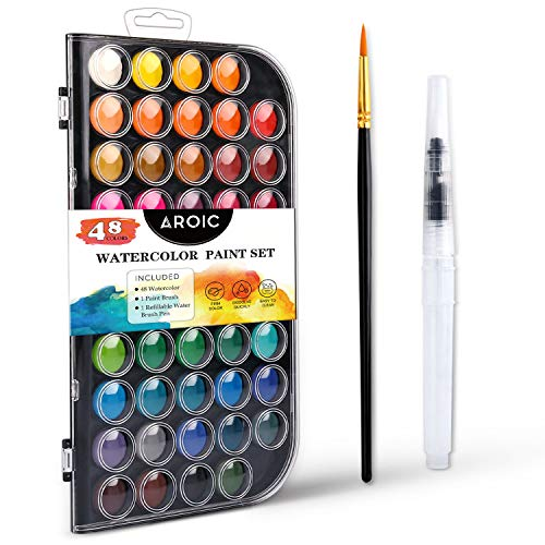 AROIC Watercolor Paint Set, with a Watercolor Paint, 48 Color, a Brush and a Refillable Water Brush Pen. The Best Gift for Beginners, Children and Art Lovers.
