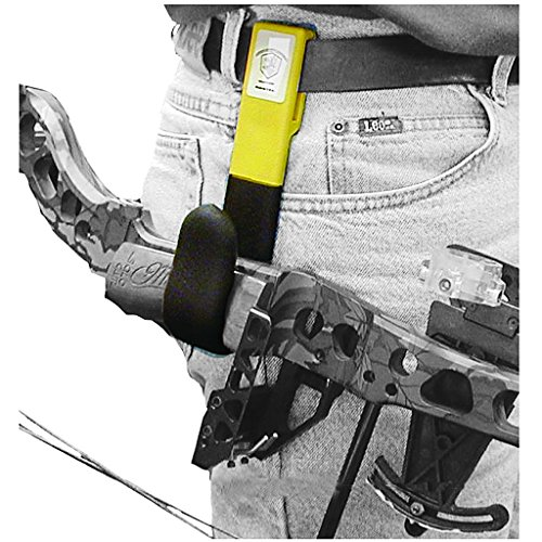 High Point Products Bow Holster for Belt; Archery Belt Bow Holder for Hunters and 3D Shooters, for Wide Grip Bows 1 to 1 3/4 Inch Wide, Attaches to Belt for Hands-Free Ground Hunting (Black)
