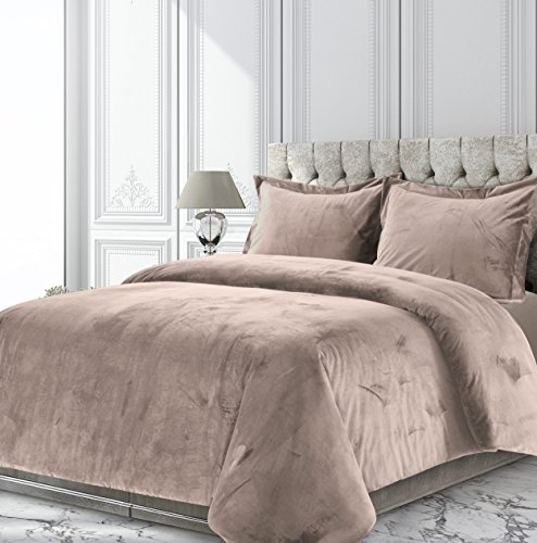 2pc Twin Venice Velvet Oversized Solid Duet Set Taupe - Tribeca Living