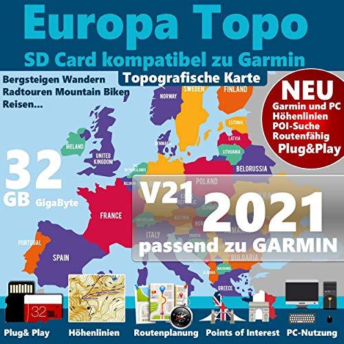 Topografische Europakarte kompatibel zu Garmin Navigation ★GPS 60, GPSMap 60Cx, GPSMap 60CSx, GPSMap 62s, GPSMap 62sc, GPSMap 62st, GPSMap 62stc, GPSMap 64, GPSMap 64s, GPSMap 64st