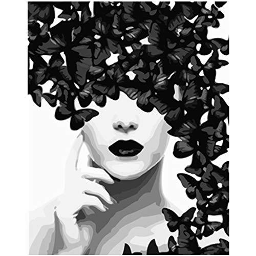 Zhxx acryl schilderij door cijfers kit zwart en wit vlinder figuur bruiloft veroudering kunst foto op canvas cadeau 16X20 inch Met frame