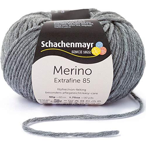 Schachenmayr Merino Extrafine 85 9807554-00292 mittelgrau meliert Handstrickgarn, Schurwolle