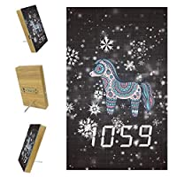 寝室用デジタル目覚まし時計キッチンオフィス3アラーム設定ラジオ木製卓上時計-雪のかわいい馬
