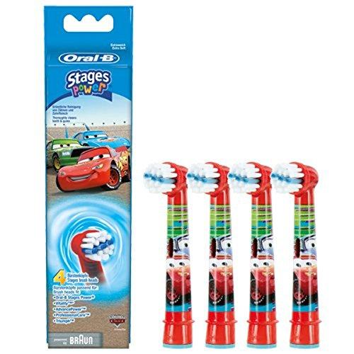 Braun - Eb10k cars-lote de 4 cabezales para cepillo de dientes eléctrico infantil stages power kids
