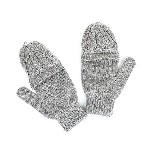 BOSSTER Guantes sin Dedos de Mujeres Manoplas de Punto de Invierno Guantes Convertibles con Cubierta para Días Frías para Damas y Niñas