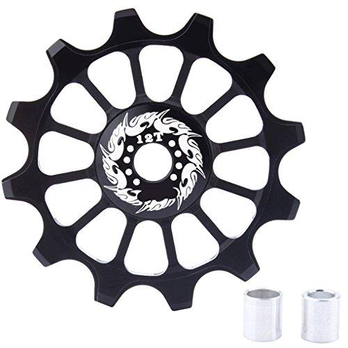 Lorsoul Bicicleta Cambio Trasero de cerámica Guía Polea 12T Positivo y Negativo Guía de Dientes de la Rueda
