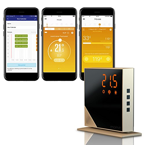 momit Home Thermostat -Starter Kit (Thermostat + Gateway) - A smart thermostat with wireless options that can control heating with a smartphone