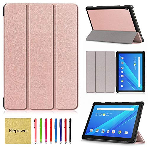 TB-X605F Case for Lenovo Tab M10 (NOT Fit Tab P10 E10), Elepower Ultra Slim Leather Shell Protective Case Trifold Kickstand Folio Cover for Lenovo Tab M10 TB-X605F 10.1' Tablet, Rose Gold