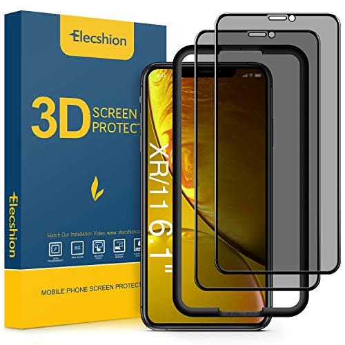 (Full-Coverage) Privacy Screen Protector for iPhone 11 and iPhone XR(2 Pack), Elecshion Anti-spy Tempered Glass Screen Protector for iPhone 11/XR(6.1 ), Bubble Free, (Case Friendly)