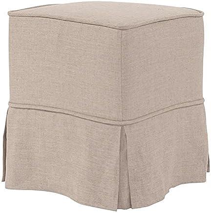 Howard Elliott 128-610S Universal Cube Ottoman,  Linen Slub Natural,  Skirted