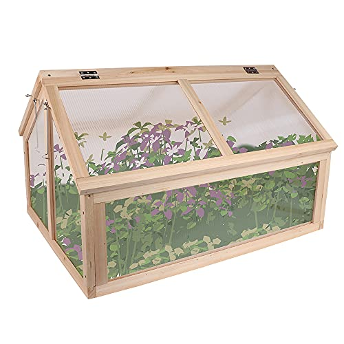 BIGTREE Wooden Cold Frame Raised Planter Greenhouse Bed Durable Sturdy Heavy Duty Contemporary...