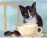 Schwarze Katzenmilch und Schokoladenkekse verwenden das Kit, um selbstgemachte DIY-Farben zu malen....
