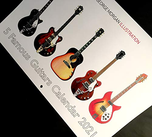 George Morgan Illustration 2021 Fünf berühmte Gitarren Kalender