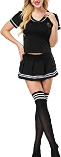 School Girl Cheerleader Lingerie Outfit Mini Sailor Suit Fancy Dress with Stockings