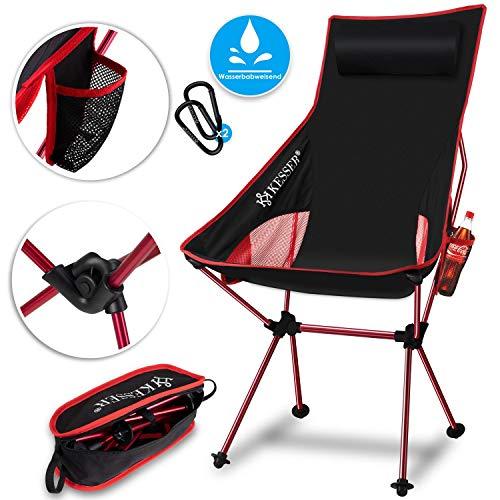 KESSER® Campingstuhl faltbar klappbar mit hoher Rückenlehne tragbar Angel Stuhl Camping Stuhl Faltstuhl bis 120 kg Strandstuhl Angelstuhl Klapphocker mit Getränkehalter, Outdoor Stuhl, Rot